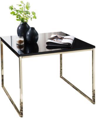 Couchtisch mit schwarzer Tischplatte, H50 x B60 x T60 cm gold