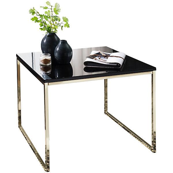 Couchtisch Mit Schwarzer Tischplatte H50 X B60 X T60 Cm Gold
