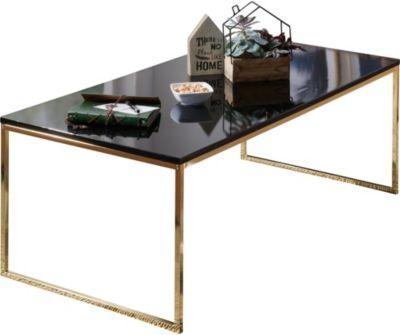 WOHNLING Couchtisch RIVA 120x45x60 cm Metall Holz Sofatisch Schwarz/Gold Wohnzimmertisch Kaffeetisch Lounge schwarz