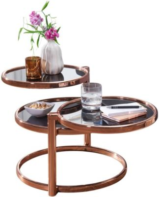 WOHNLING Couchtisch SUSI mit 3 Tischplatten Schwarz 58x43x58 cm Glas / Metall Glastisch Sofatisch Loungetisch schwarz