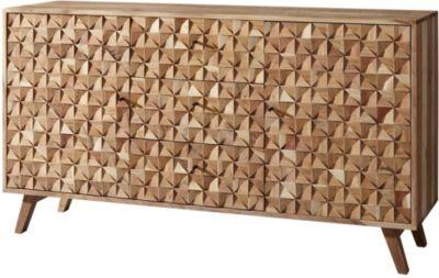 Akazien Massivholz Sideboard, H78,5 x B140 x T40 cm braun