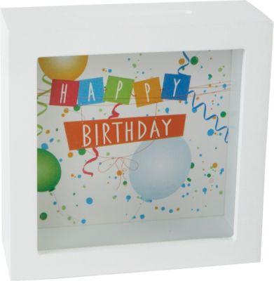 Spardose Happy Birthday zum aufhängen H13xB13xT5cm weiß | Dekoration > Aufbewahrung und Ordnung > Dosen | yomonda