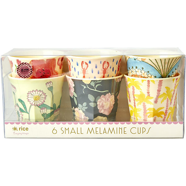 "6-tlg. Melamin Trinkbecher Set ""Happy 21st Colors"" H7 cm"