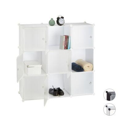 relaxdays Steck-Regal-System mit 9 Fächer, H 110 x B 110 x T 36,5 cm weiß | Büro > Büroregale > Regalsysteme | relaxdays