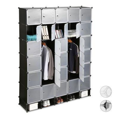 XXL Kleiderschrank mit flexiblem Regalsystem, H 234 x B 180 x T 46,5 cm schwarz