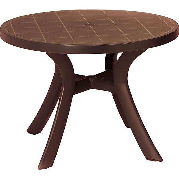 Kunststoff Tisch Kansas Mit Schirmloch Wetterfest Rund Braun