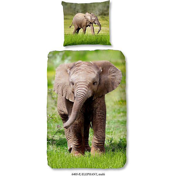 Wende Kinderbettwasche Elefant Renforce 135 X 200 Cm Mehrfarbig Good Morning Bedlinens