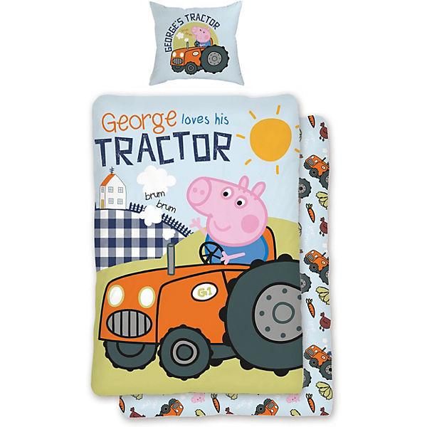 Wende Kinderbettwäsche Peppa Pig Traktor Renforcé 135 X 200 Cm