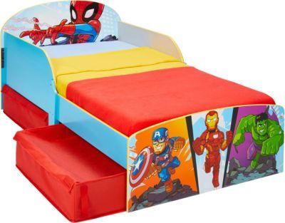 Kinderbett mit 2 Ablageboxen mit Klettverschluss, Marvel Superheros, 70 x 140 cm, , Marvel Heroes