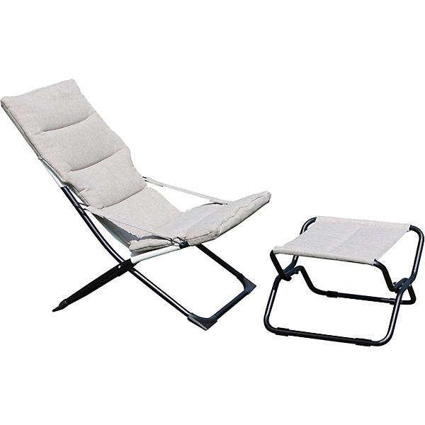 Garten Relax Stuhl Mia Maria Mit Hocker Klappbar Grau Leco