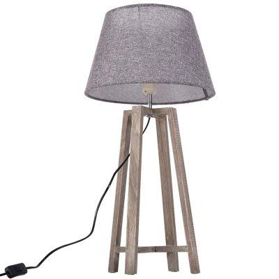 HOMCOM Nachttischlampe grau   Lampen > Tischleuchten > Nachttischlampen   Paulownia - Holz   HOMCOM