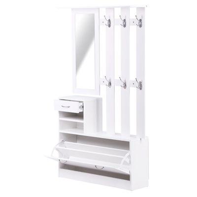 HOMCOM Garderoben Set 2 tlg Schuhschrank Wandpaneel Spiegel Garderobe 3 in1 Weiß
