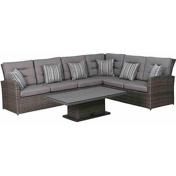 5 Tlg Lounge Set Porto Tisch Höhenverstellbar Grau Siena