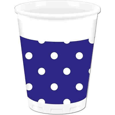Partybecher Blue Royal Dots 200 ml, 8 Stück