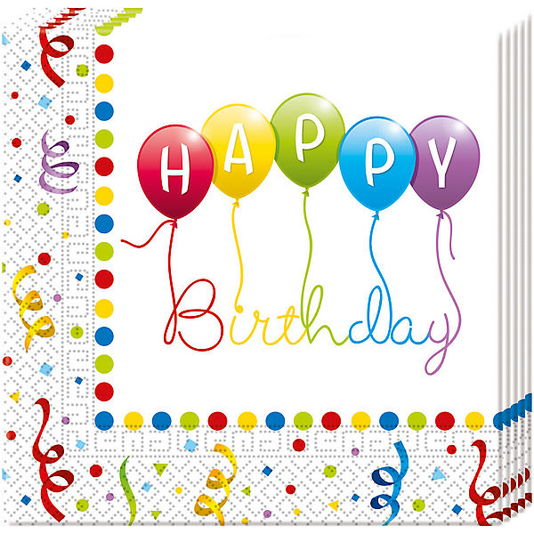 Servietten zweilagig Happy Birthday Streamers 33 x 33 cm, 20 Stück