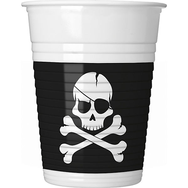 Partybecher Pirates - Black Skull 200 ml, 8 Stück