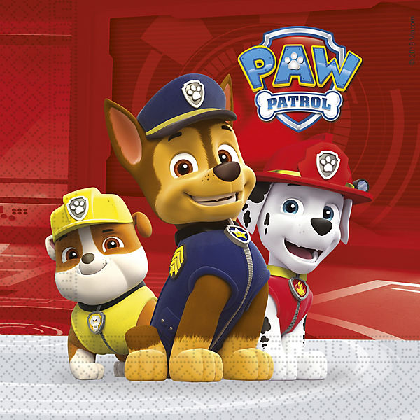 Servietten zweilagig PAW Patrol - Ready For Action 33 x 33 cm, 20 Stück