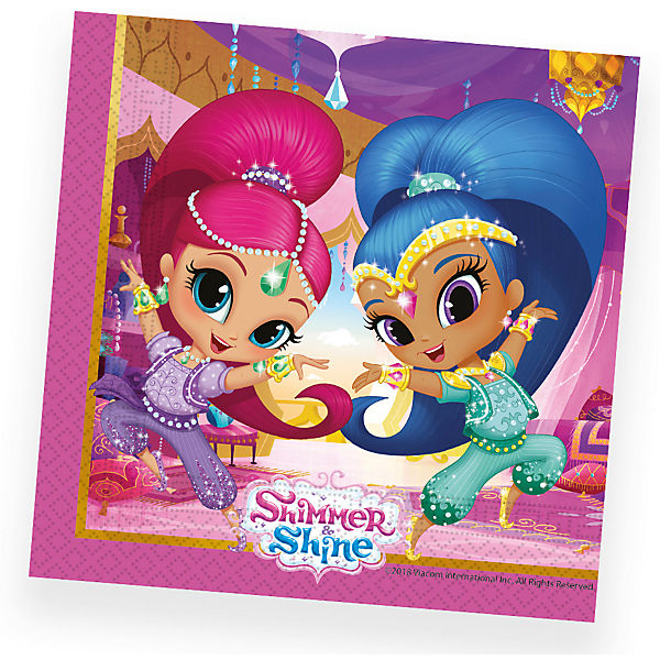Servietten zweilagig Shimmer and Shine - Glitter Friends 33 x 33 cm, 20 Stück
