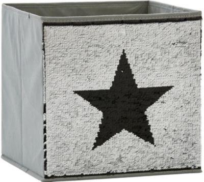 STORE IT! Aufbewahrungsbox Pailletten Stern, schwarz/silber | Dekoration > Aufbewahrung und Ordnung > Korbwaren | STORE IT!