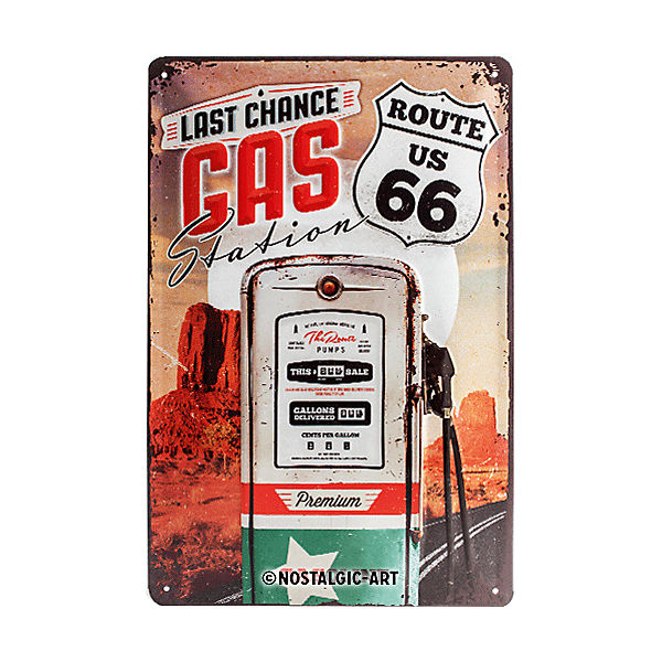 "Blechschild ""Route 66 Gas Station"" 20 x 30 cm"