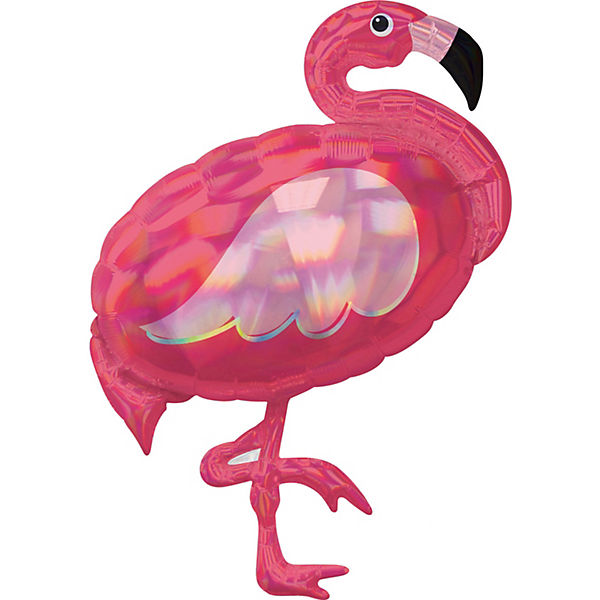 Holographic SuperShape Iridescent Pink Flamingo Folienballon P40 verpackt 71cm x 83cm