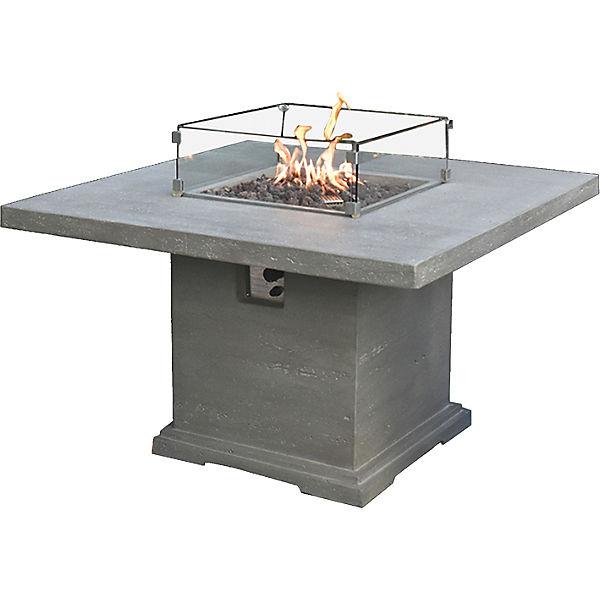 Gas Feuerstelle aus Faserbeton, B127 x T127 x H90 cm, grau,