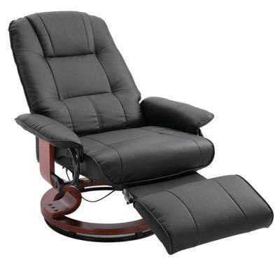 HOMCOM Relaxsessel mit rundem Holzfuß schwarz