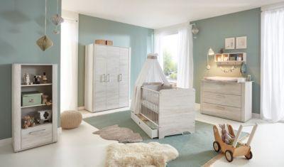 arthur berndt Komplett Kinderzimmer Leon, 3-tlg. (Kinderbett exkl. Umbauseiten, Wickelkommode und 3-türiger Kleiderschrank), Light Wood Nb
