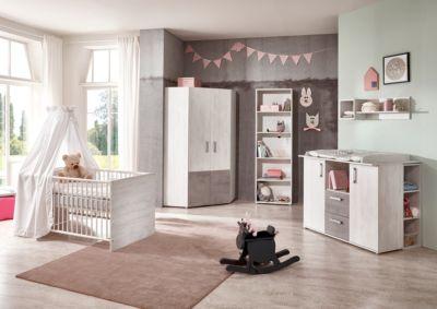 arthur berndt Komplett Kinderzimmer Insa, 3-tlg. (Kinderbett exkl. Umbauseiten, Wickelkommode und 4-türiger Kleiderschrank), Washed Wood/Stone