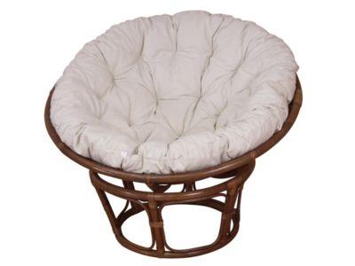 Papasansessel, Durchmesser 110 cm Sessel mit Kissen braun