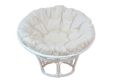 Papasansessel, Durchmesser 80 cm Sessel mit Kissen weiß