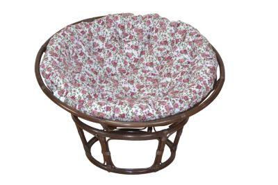 Papasansessel, Durchmesser 100 cm Sessel mit Kissen braun