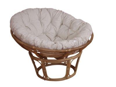 Papasansessel, Durchmesser 80 cm Sessel mit Kissen beige
