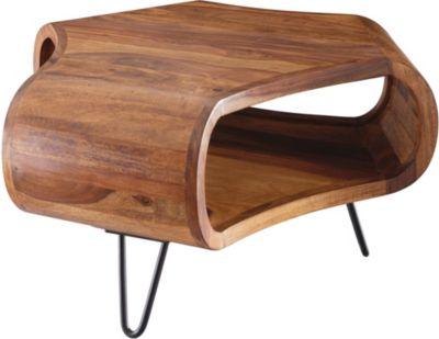 WOHNLING Couchtisch WL5.603 55x38x55 cm Sheesham Massivholz Metallgestell Wohnzimmertisch Sofatisch Holztisch holzfarben