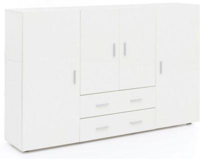 Sideboard, B165 x T35 x H108 cm weiß