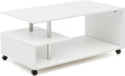Couchtisch, rollbar, B105 x T60 x H48,5 cm weiß