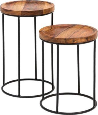 WOHNLING Satztisch WL5.661 Sheesham Beistelltisch 2er Set Couchtisch Holz Massivholz Wohnzimmertisch Ablage braun/schwarz