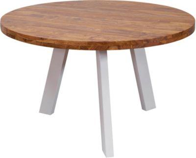 WOHNLING Esszimmertisch WL5.652 130x130x77 cm Sheesham Massiv Esstisch Holz Metallbeine Tisch Küchentisch braun