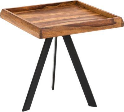 WOHNLING Beistelltisch 45 x 48 x 45 cm WL5.655 Sheesham Couchtisch Tischchen Holztisch Sofatisch Anstelltisch braun/schwarz