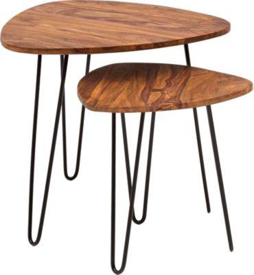 WOHNLING Satztisch WL5.659 Sheesham Beistelltisch 2er Set Couchtisch Holz Massivholz Wohnzimmertisch Ablage braun/schwarz