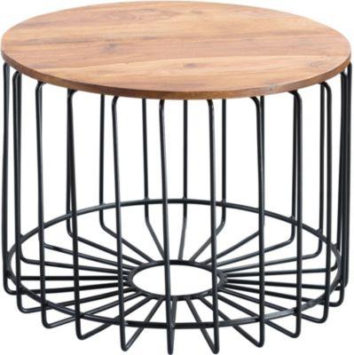 WOHNLING Couchtisch WL5.645 Sheesham 60 x 42 x 60 cm Metall Beistelltisch Tischchen Holztisch Anstelltisch braun/schwarz