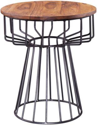 WOHNLING Beistelltisch 47 x 55 x 47 cm WL5.644 Sheesham Metall Couchtisch Echtholz Tischchen Holztisch braun/schwarz