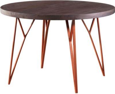 WOHNLING Esszimmertisch WL5.646 118x79x118 cm Massivholz / Metall Tisch Esstisch Akazie Küchentisch Holztisch kupfer