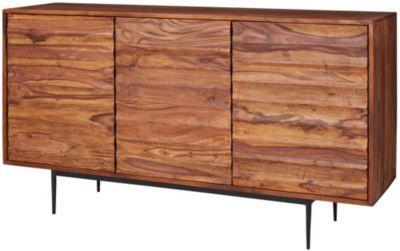 Sheesham Massivholz Sideboard, B150 x T41 x H81 cm braun