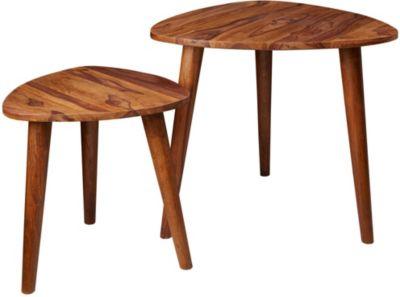 WOHNLING Satztisch WL5.574 Sheesham Massivholz Beistelltisch 2er Set Klein Couchtisch Set Tische Sofatisch braun