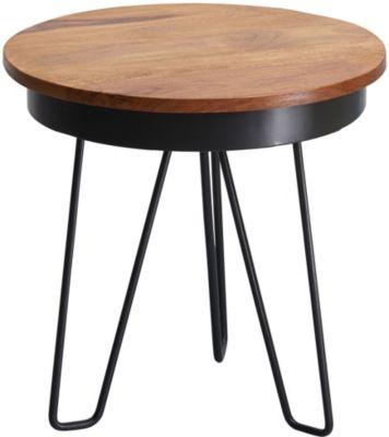 WOHNLING Beistelltisch 43 x 45 x 43 cm WL5.680 Sheesham Couchtisch Tischchen Holztisch Sofatisch Metallbeine braun/schwarz