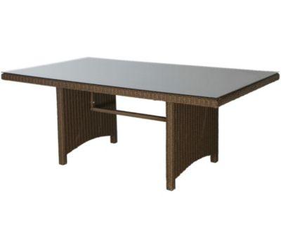 Grasekamp Tisch Ibiza 150x90cm mit Glasplatte, braun, Grasekamp