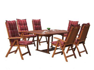 Grasekamp Garten Möbelgruppe Cuba 13tlg Rubin  gestreift mit ausziehbaren Tisch rot