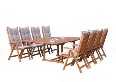 Grasekamp Garten Möbelgruppe Cuba 17tlg Sand mit  ausziehbarem Tisch beige