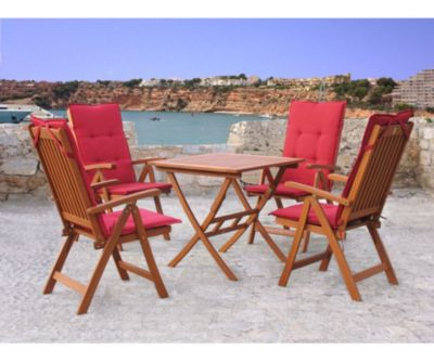 Grasekamp Gartenmöbelgruppe Santos Rubin 9tlg mit  Tisch 80x80cm Balkonmöbel Essgruppe rot